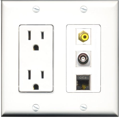 RiteAV - 15 Amp Power Outlet 1 Port RCA Yellow 1 Port Shielded Cat6 Ethernet Ethernet 1 Port BNC Decorative Wall Plate