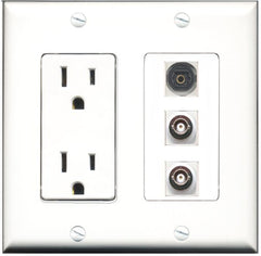 RiteAV - 15 Amp Power Outlet 1 Port Toslink 2 Port BNC Decorative Wall Plate