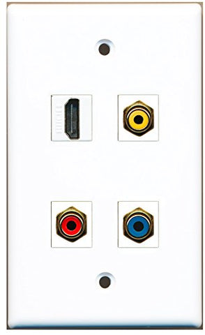 RiteAV - 1 Port HDMI 1 Port RCA Red 1 Port RCA Yellow 1 Port RCA Blue Wall Plate