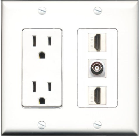 RiteAV - 15 Amp Power Outlet 2 Port HDMI 1 Port BNC Decorative Wall Plate