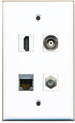 RiteAV - 1 Port HDMI 1 Port Coax Cable TV- F-Type 1 Port Shielded Cat6 Ethernet 1 Port BNC Wall Plate