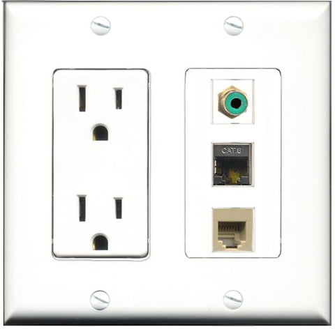 RiteAV - 15 Amp Power Outlet 1 Port RCA Green 1 Port Phone Beige 1 Port Shielded Cat6 Ethernet Ethernet Decorative Wall Plate
