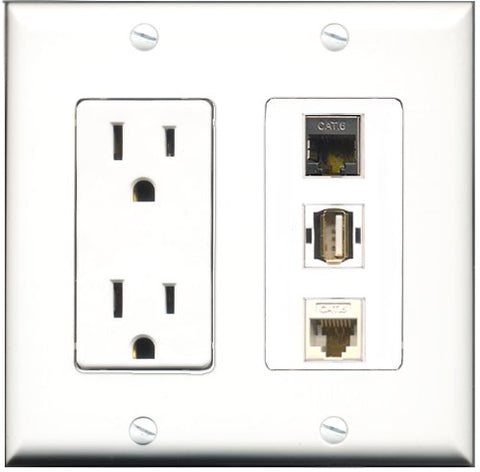 RiteAV - 15 Amp Power Outlet 1 Port USB A-A 1 Port Shielded Cat6 Ethernet Ethernet 1 Port Cat6 Ethernet Ethernet White Decorative Wall Plate