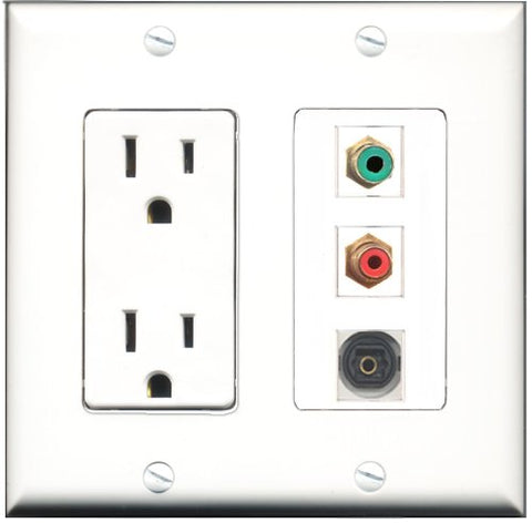 RiteAV - 15 Amp Power Outlet 1 Port RCA Red 1 Port RCA Green 1 Port Toslink Decorative Wall Plate