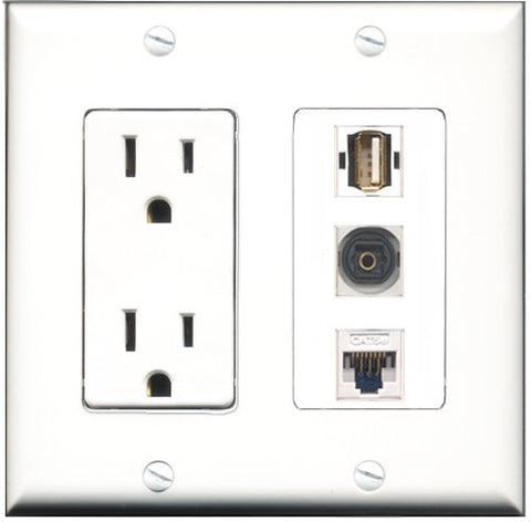 RiteAV - 15 Amp Power Outlet 1 Port USB A-A 1 Port Toslink 1 Port Cat5e Ethernet White Decorative Wall Plate
