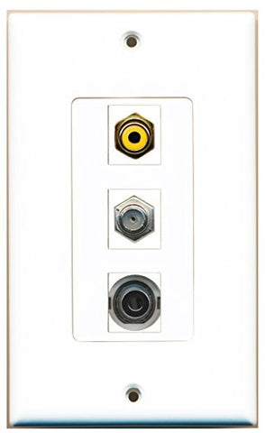 RiteAV - 1 Port RCA Yellow and 1 Port Coax Cable TV- F-Type and 1 Port 3.5mm Decorative Wall Plate Decorative