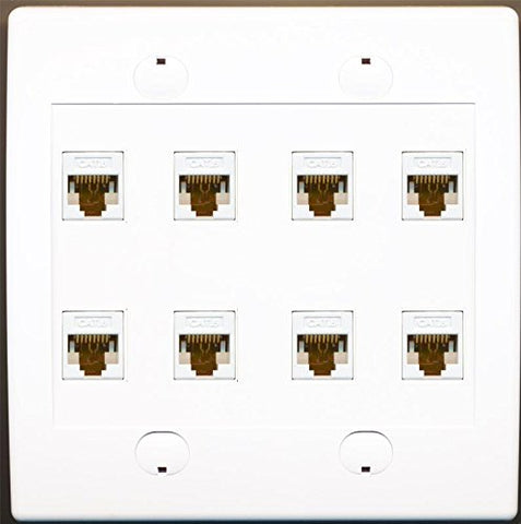 RiteAV 8 Port Flat Dual 2 Gang Ethernet Cat6 RJ45 Network Wall Plate - White