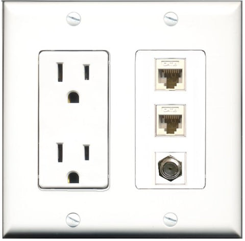 RiteAV - 15 Amp Power Outlet 1 Port Coax 2 Port Cat6 Ethernet Ethernet White Decorative Wall Plate