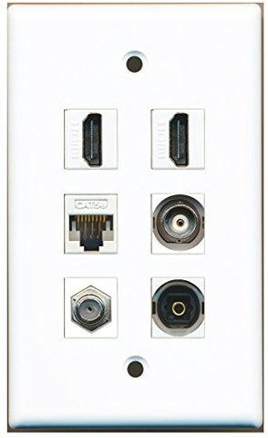 RiteAV - 2 HDMI 1 Port Coax Cable TV- F-Type 1 Port Toslink 1 Port BNC 1 Port Cat5e Ethernet White Wall Plate