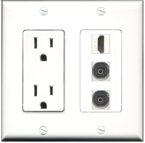 RiteAV - 15 Amp Power Outlet 1 Port HDMI 2 Port Toslink Decorative Wall Plate