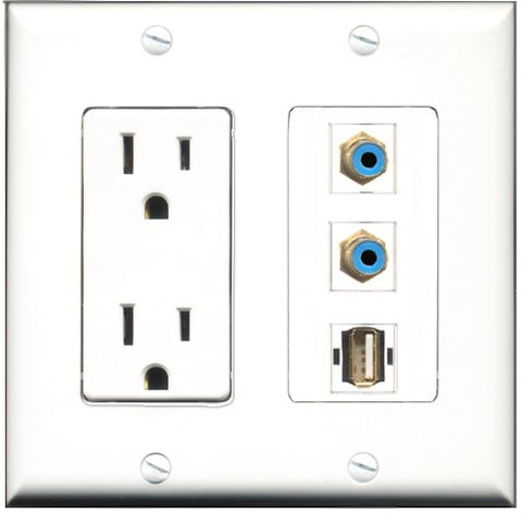 RiteAV - 15 Amp Power Outlet 2 Port RCA Blue 1 Port USB A-A Decorative Wall Plate