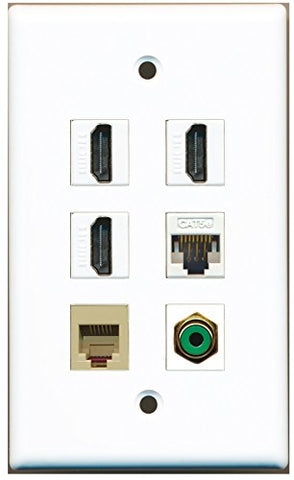 RiteAV - 3 HDMI 1 Port RCA Green 1 Port Phone RJ11 RJ12 Beige 1 Port Cat5e Ethernet White Wall Plate