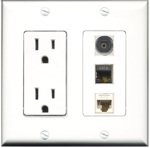 RiteAV - 15 Amp Power Outlet 1 Port Shielded Cat6 Ethernet Ethernet 1 Port Toslink 1 Port Cat6 Ethernet Ethernet White Decorative Wall Plate