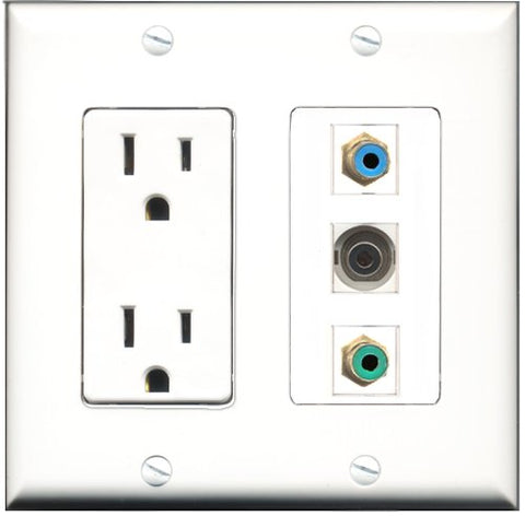 RiteAV - 15 Amp Power Outlet 1 Port RCA Green 1 Port RCA Blue 1 Port 3.5mm Decorative Wall Plate