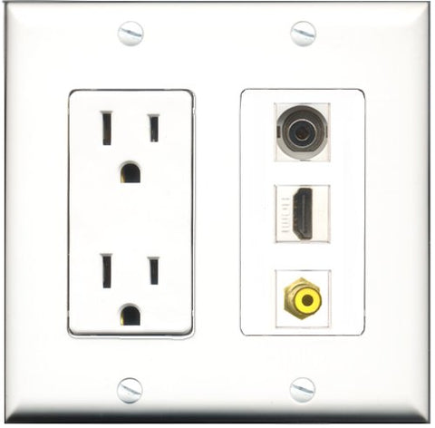 RiteAV - 15 Amp Power Outlet 1 Port HDMI 1 Port RCA Yellow 1 Port 3.5mm Decorative Wall Plate