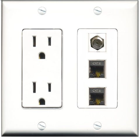 RiteAV - 15 Amp Power Outlet 1 Port Coax 2 Port Shielded Cat6 Ethernet Ethernet Decorative Wall Plate