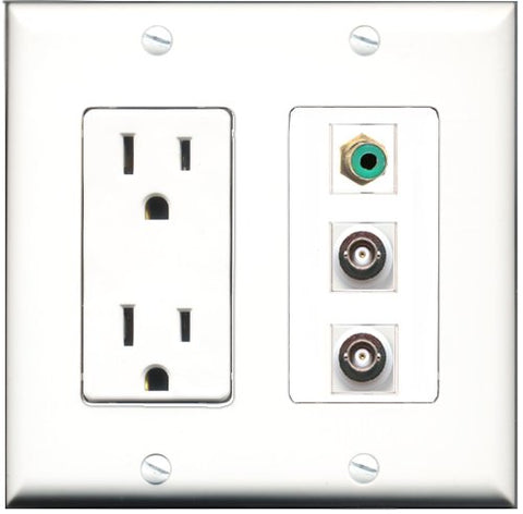 RiteAV - 15 Amp Power Outlet 1 Port RCA Green 2 Port BNC Decorative Wall Plate