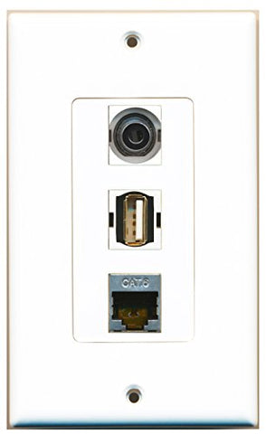 RiteAV - 1 Port USB A-A and 1 Port Shielded Cat6 Ethernet and 1 Port 3.5mm Decorative Wall Plate Decorative