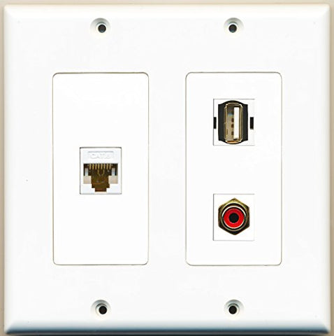 RiteAV - 1 Port RCA Red 1 Port USB A-A 1 Port Cat6 Ethernet White - 2 Gang Wall Plate