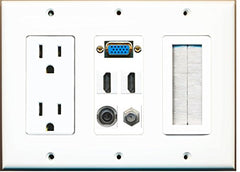 RiteAV - (3 Gang) 15A Power Outlet Mesh-Brush Svga 2 HDMI Coax 3.5mm Wall Plate White