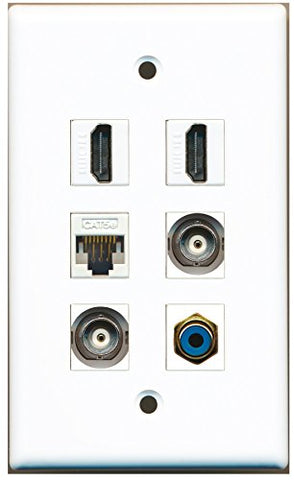 RiteAV - 2 HDMI 1 Port RCA Blue 2 Port BNC 1 Port Cat5e Ethernet White Wall Plate