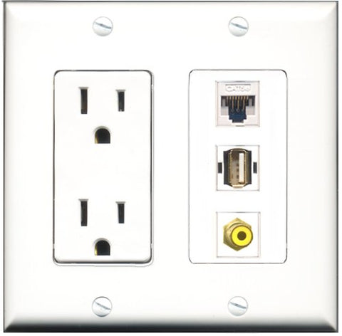 RiteAV - 15 Amp Power Outlet 1 Port RCA Yellow 1 Port USB A-A 1 Port Cat5e Ethernet White Decorative Wall Plate