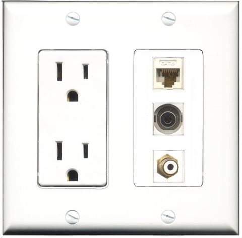 RiteAV - 15 Amp Power Outlet 1 Port RCA White 1 Port 3.5mm 1 Port Cat6 Ethernet Ethernet White Decorative Wall Plate