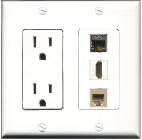 RiteAV - 15 Amp Power Outlet 1 Port HDMI 1 Port Phone Beige 1 Port Shielded Cat6 Ethernet Ethernet Decorative Wall Plate