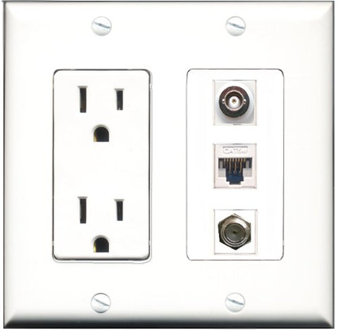 RiteAV - 15 Amp Power Outlet 1 Port Coax 1 Port BNC 1 Port Cat5e Ethernet White Decorative Wall Plate