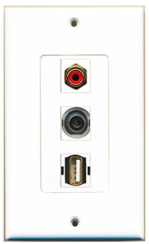 RiteAV - 1 Port RCA Red and 1 Port USB A-A and 1 Port 3.5mm Decorative Wall Plate Decorative
