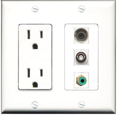 RiteAV - 15 Amp Power Outlet 1 Port RCA Green 1 Port 3.5mm 1 Port BNC Decorative Wall Plate