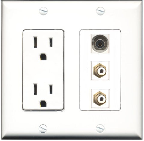 RiteAV - 15 Amp Power Outlet 2 Port RCA White 1 Port 3.5mm Decorative Wall Plate