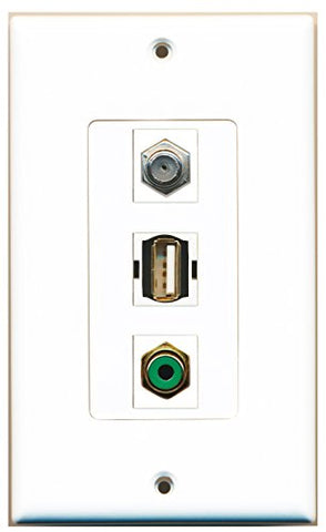 RiteAV - 1 Port RCA Green and 1 Port Coax Cable TV- F-Type and 1 Port USB A-A Decorative Wall Plate Decorative