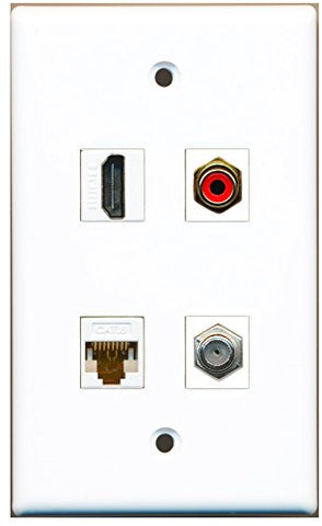 RiteAV - 1 Port HDMI 1 Port RCA Red 1 Port Coax Cable TV- F-Type 1 Port Cat6 Ethernet White Wall Plate