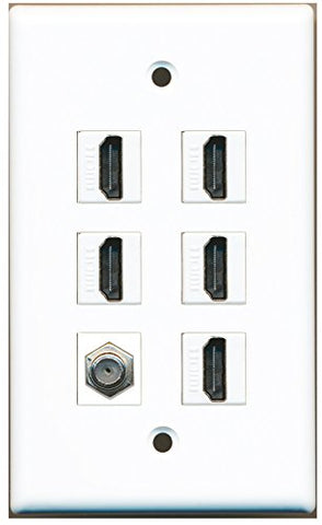 RiteAV - 5 HDMI 1 Port Coax Cable TV- F-Type Wall Plate