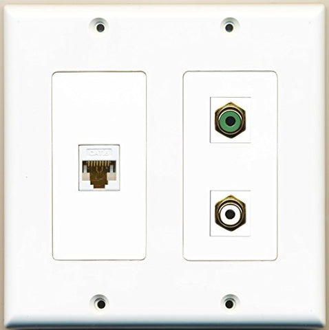 RiteAV - 1 Port RCA White 1 Port RCA Green 1 Port Cat6 Ethernet White - 2 Gang Wall Plate