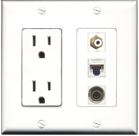 RiteAV - 15 Amp Power Outlet 1 Port RCA White 1 Port 3.5mm 1 Port Cat5e Ethernet White Decorative Wall Plate