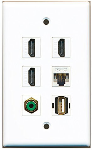 RiteAV - 3 HDMI 1 Port RCA Green 1 Port USB A-A 1 Port Cat5e Ethernet White Wall Plate