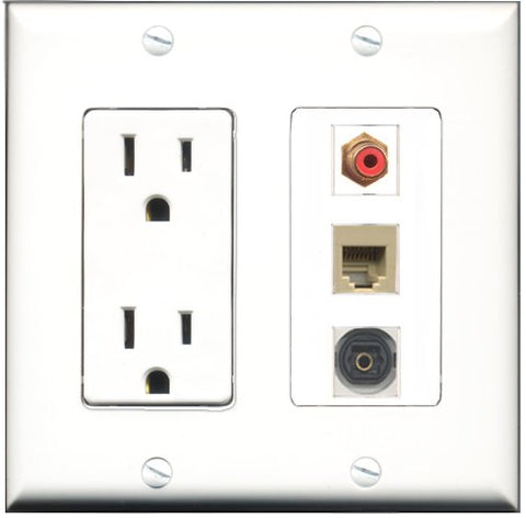 RiteAV - 15 Amp Power Outlet 1 Port RCA Red 1 Port Phone Beige 1 Port Toslink Decorative Wall Plate