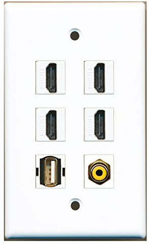 RiteAV - 4 HDMI 1 Port RCA Yellow 1 Port USB A-A Wall Plate
