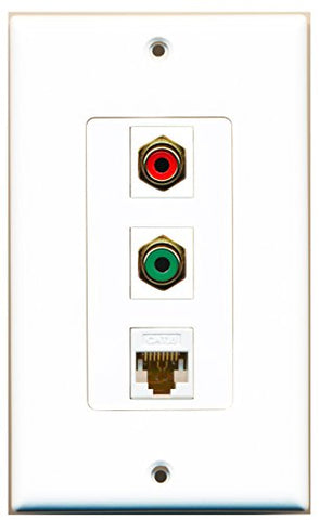 RiteAV - 1 Port RCA Red and 1 Port RCA Green and 1 Port Cat6 Ethernet White Decorative Wall Plate Decorative