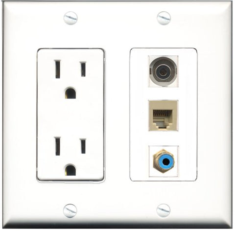 RiteAV - 15 Amp Power Outlet 1 Port RCA Blue 1 Port Phone Beige 1 Port 3.5mm Decorative Wall Plate