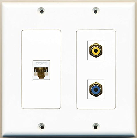RiteAV - 1 Port RCA Yellow 1 Port RCA Blue 1 Port Cat6 Ethernet White - 2 Gang Wall Plate