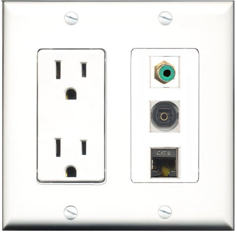 RiteAV - 15 Amp Power Outlet 1 Port RCA Green 1 Port Shielded Cat6 Ethernet Ethernet 1 Port Toslink Decorative Wall Plate