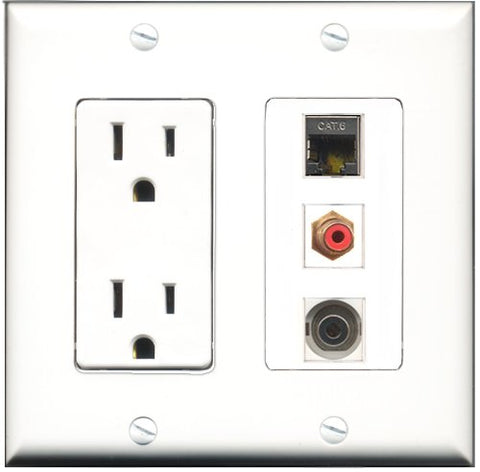 RiteAV - 15 Amp Power Outlet 1 Port RCA Red 1 Port Shielded Cat6 Ethernet Ethernet 1 Port 3.5mm Decorative Wall Plate