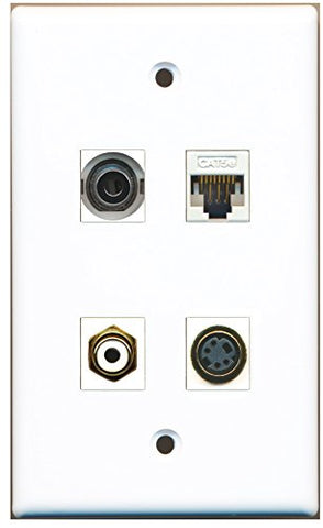 RiteAV - 1 Port RCA White 1 Port S-Video 1 Port 3.5mm 1 Port Cat5e Ethernet White Wall Plate