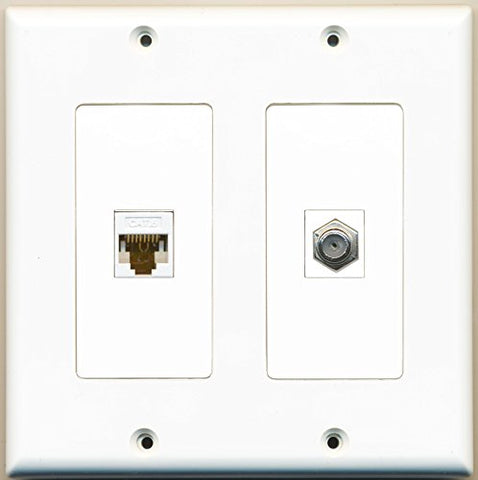 RiteAV - 1 Port Coax Cable TV- F-Type 1 Port Cat6 Ethernet Dual Gang Wall Plate - White