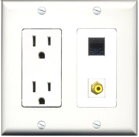 RiteAV - 15 Amp Power Outlet and 1 Port RCA Yellow and 1 Port Cat5e Ethernet Black Decorative Type Wall Plate White