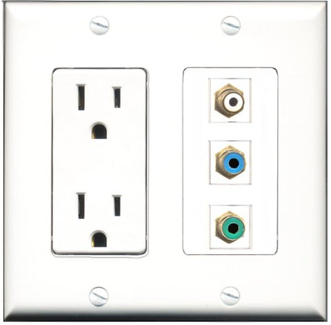RiteAV - 15 Amp Power Outlet 1 Port RCA White 1 Port RCA Green 1 Port RCA Blue Decorative Wall Plate