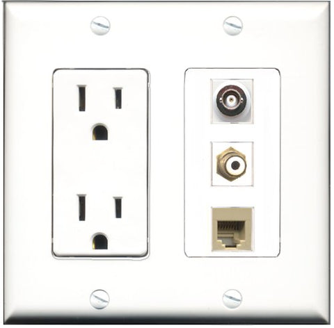RiteAV - 15 Amp Power Outlet 1 Port RCA White 1 Port Phone Beige 1 Port BNC Decorative Wall Plate